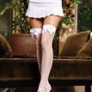 Fishnet thigh hi with a back seam and satin bow.