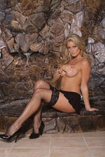 Diamond net thigh hi with stay up silicone lace top.
