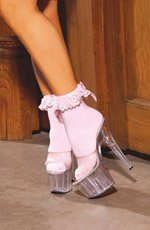 Nylon anklet with ruffle and satin bow.
