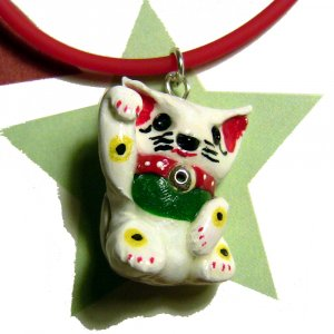 Hand Painted Calico Maneki Neko Lucky Cat Necklace