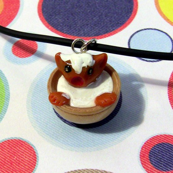 Orange Animini Kitten in a Bowl of Cream Necklace