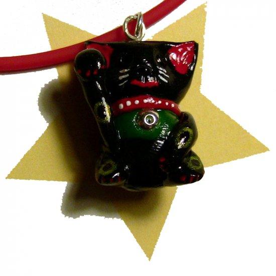 Lucky Black Maneki Neko Hand Painted Cat Necklace