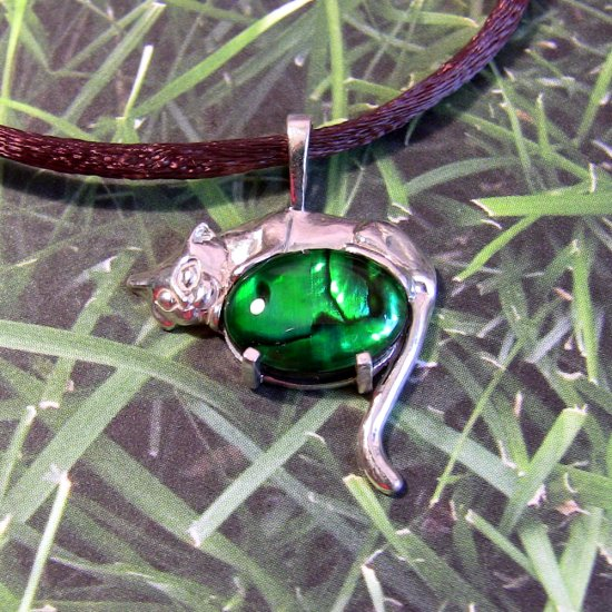 Earthy Sleeping Cat-- Sterling silver with green dyed paua shell