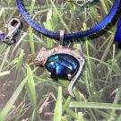 Cobalt Sleeping Cat: Sterling silver with blue dyed paua shell