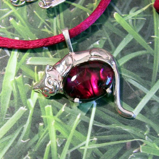 Ruby Red Sleeping Cat-- Sterling silver with blue dyed paua shell