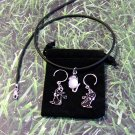 Black Cat and Mouse Necklace and Earrings Gift Set