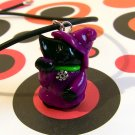 Good Luck Witch Kitty: Black Lucky Maneki Neko Cat in Violet Dress and Hat