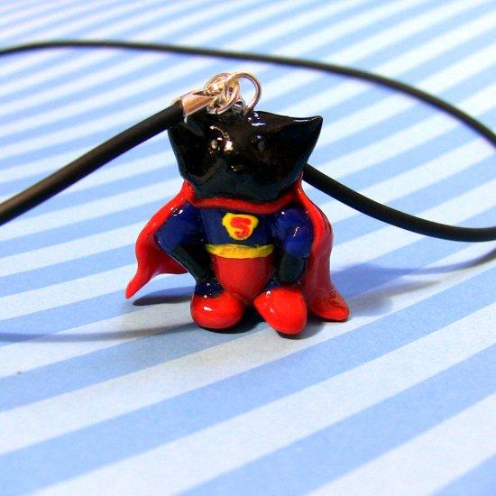 Supercat Comic Cat in Red Cape: black kitty
