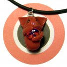 Orange Kitty Hugging Ball of Yarn Animini Necklace