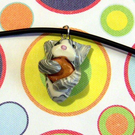 Cheezburger Kitty Silver and White Swirl Tabby Tuxedo Animini Necklace