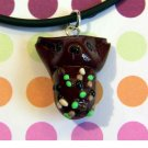 Truffle Kitty-- Sweetkins Chocolate Nonpareil Animini Cat necklace
