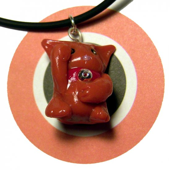 Orange Maneki Neko Lucky Cat Necklace