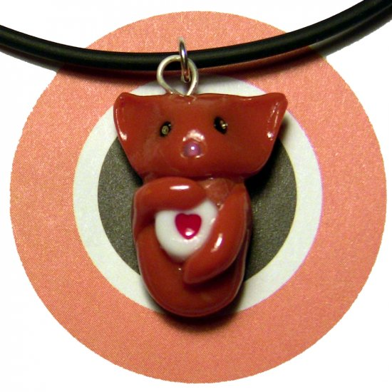 Ginger Orange Kitty Valentine Heart Animini Cat Necklace