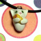 Kitty Hugging Ducky White Animini Necklace