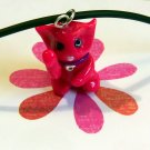 Hot Pink Maneki Neko Lucky Beckoning Cat Necklace