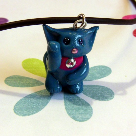 Turquoise Blue Maneki Neko Lucky Cat Necklace