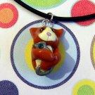 Kitty Hugging Mouse Toy Orange Tuxedo Necklace