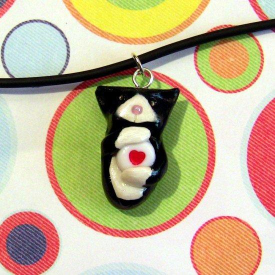 Kitty Hugging Heart Necklace-- Tuxedo