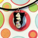 Kitty Hugging Rainbow Crystal Necklace-- Tuxedo