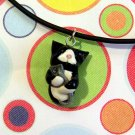 Kitty Hugging Mouse Animini Necklace-- Tuxedo