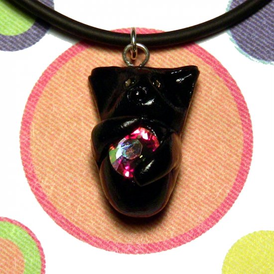 Kitty Hugging Rainbow Crystal-- Black