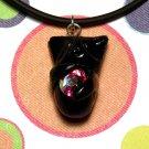 Kitty Hugging Rainbow Crystal-- Black