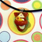 Kitty Hugging Ducky Ginger OrangeTuxedo Animini Necklace