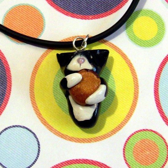 Cheezburger Kitty Black and WhiteTuxedo Animini Necklace