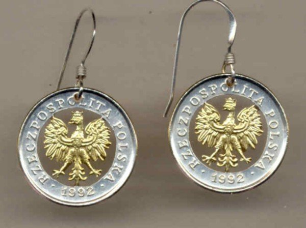 Polish 5 groszy (Eagle with crown) copper-nickel (penny size)