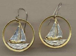 Bahamas 25 cent Sail boat nickel (U.S. quarter size)