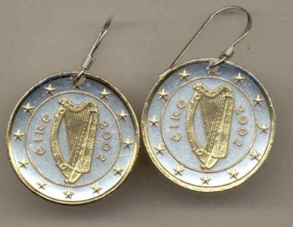 Ireland one Euro Harp, stars, center circle & rim done in gold rim