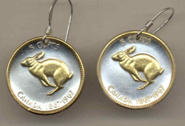 Canadian Centennial 5 cent Rabbit (nickel size)