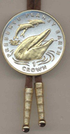 Gibraltar 1 Crown 3 Dolphins + extra detail in Gold (U.S. silver dollar size)
