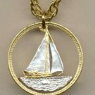 Bahamas 25 cent Sail boat (U.S. quarter size)