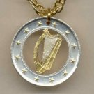 Ireland one Euro Harp, stars, center circle & rim done in Gold (U.S. quarters size)