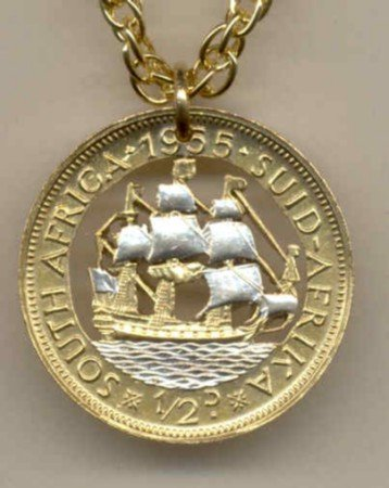 S. African 1/2 penny Old sailing ship (U.S. quarter size)