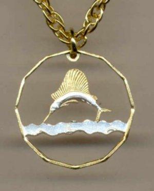 Tanzania 5 Sentia Swordfish (a little smaller than a U.S. Quarter