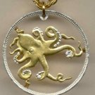 Tuvalu 50 cent Octopus (A little bigger than a U.S. 1/2 dollar)