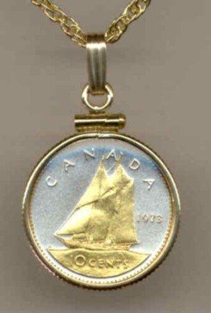 Canadian 10 cent Bluenose sail boat (U.S. dime size)