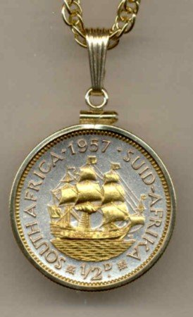 S. African 1/2 penny Sailing ship (a little bigger than a U.S. quarter)