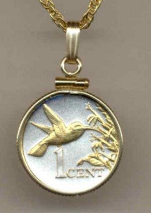 Trinidad & Tobago 1 cent Hummingbird (dime size)