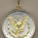 U.S. Morgan silver dollar (reverse) (Eagle, wreath & In God We Trust in Gold) (minted 1878 - 1921)