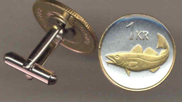 Iceland 1 krona Codfish (U.S. nickel size)