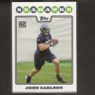 JOHN CARLSON - 2008 Topps ROOKIE - Seahawks & Notre Dame