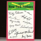 NEW YORK YANKEES TEAM CARD 1974 Topps Signature Checklist