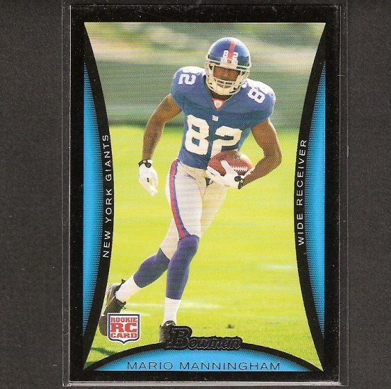 MARIO MANNINGHAM - 2008 Bowman Rookie- NY Giants & Michigan Wolverines