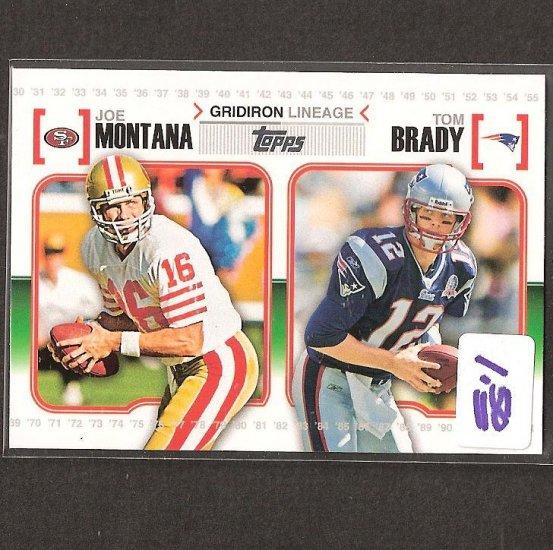 TOM BRADY & JOE MONTANA 2010 Topps Attax - New England Patriots & San Francisco 49ers