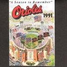 Baltimore Orioles 1991 Pocket Schedule - Last year at Memorial Stadium