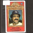 DAVEY LOPES 1981 Topps Perma Graphics - LA Dodgers & Oakland A's