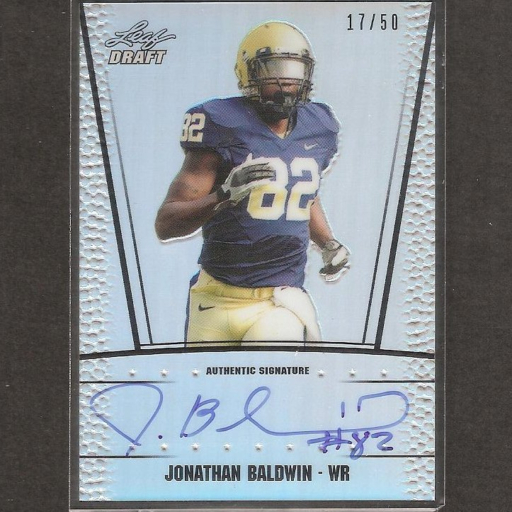 JONATHAN BALDWIN - 2011 Leaf Metal Draft Autograph REFRACTOR ROOKIE - Pitt Panthers & 49ers